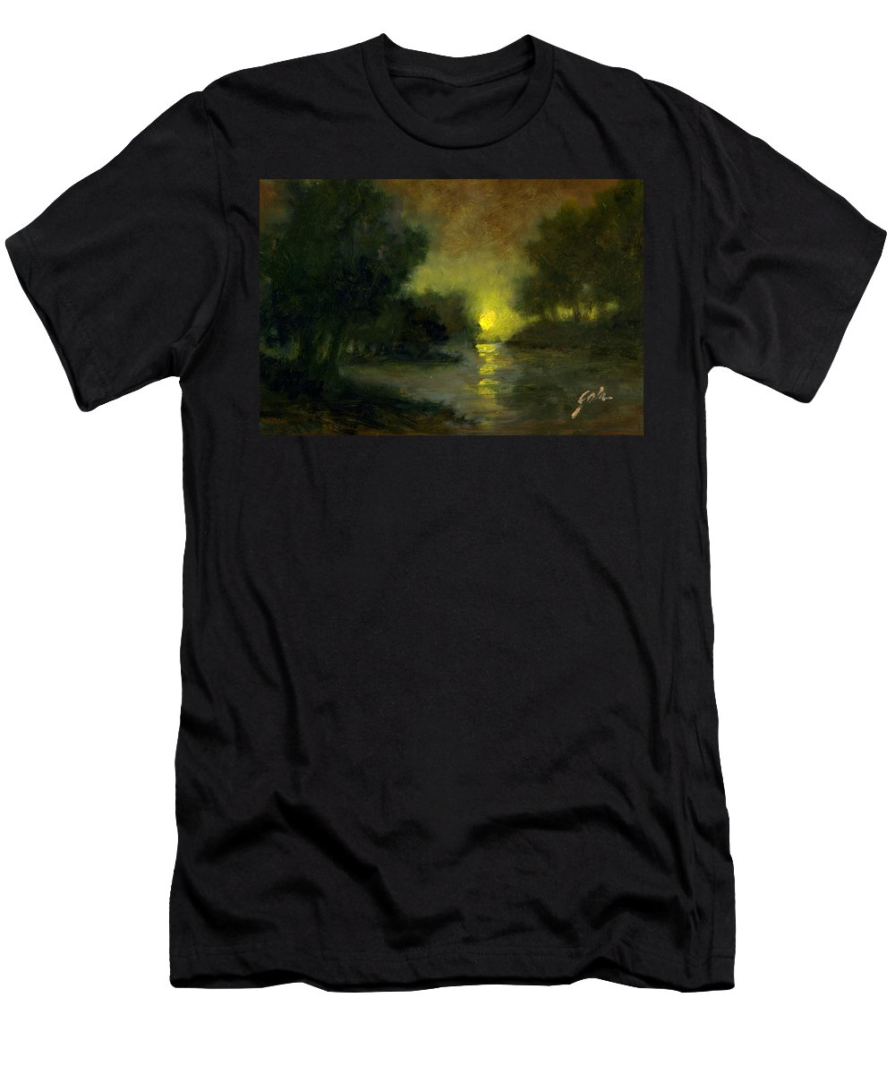 Miniaturesoil Paintings T-Shirt featuring the painting A Dusky Evening by Jim Gola