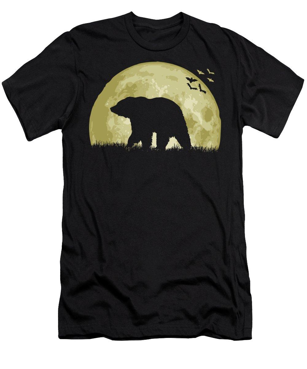 Bear T-Shirt featuring the digital art Bear Full Moon by Filip Schpindel