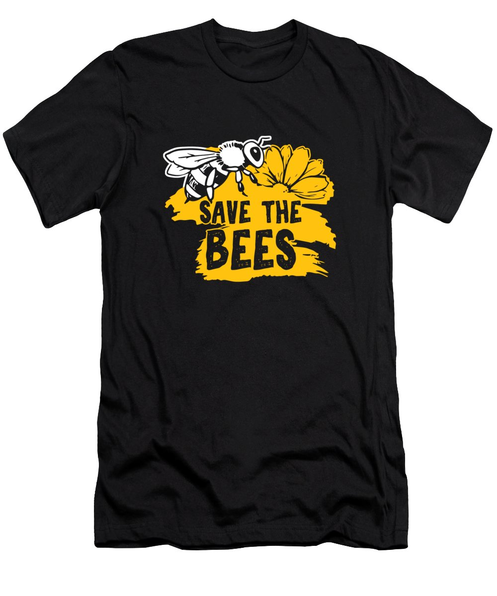 Bee T-Shirt featuring the digital art Bee Beehive Beekeeper Honeycomb Honeybee Gift Save The Bees by Thomas Larch