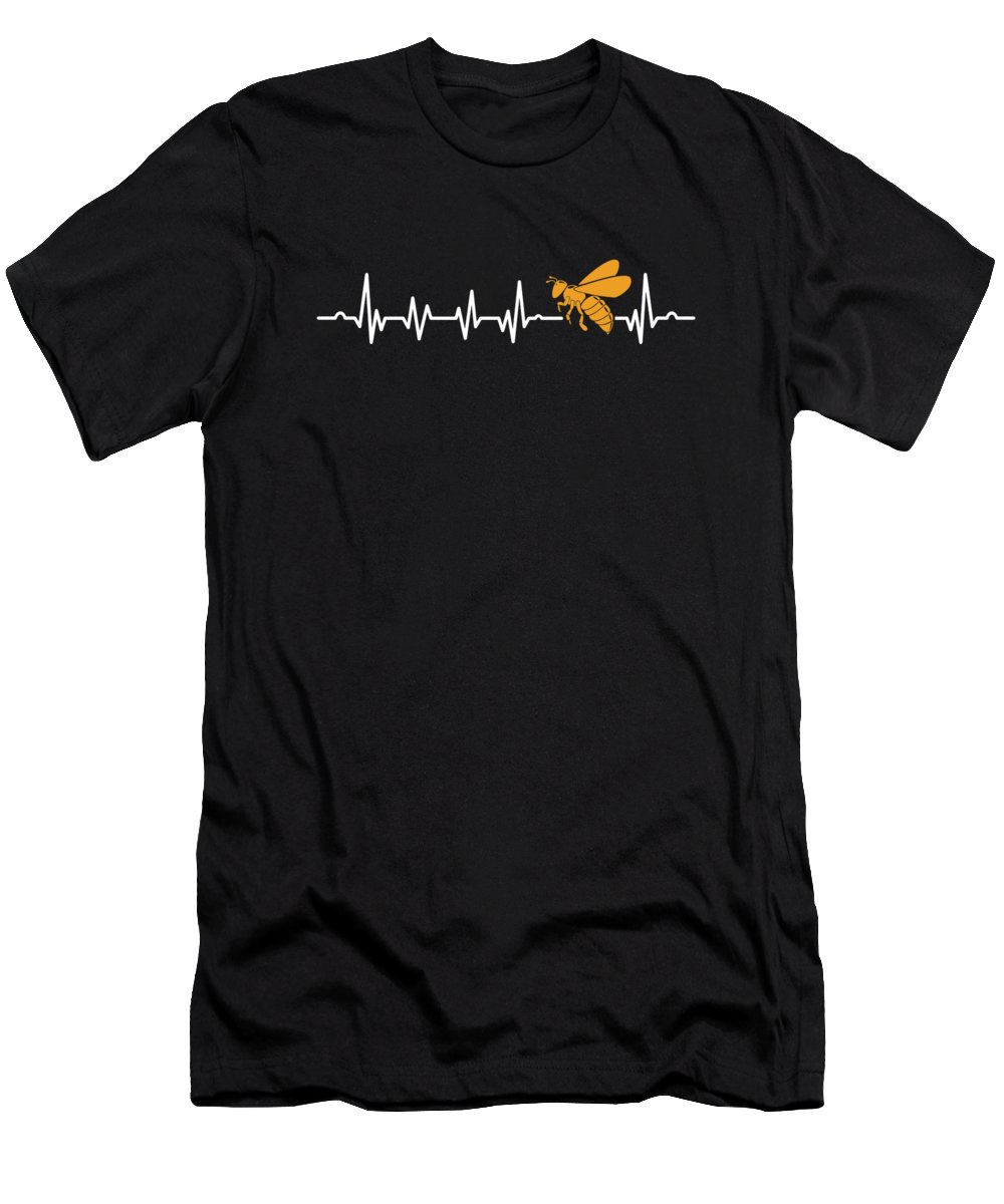 Bee T-Shirt featuring the digital art Bees Beehive Keepers Beekeeper Honeycomb Honeybee Bee Heartbeat Gift by Thomas Larch