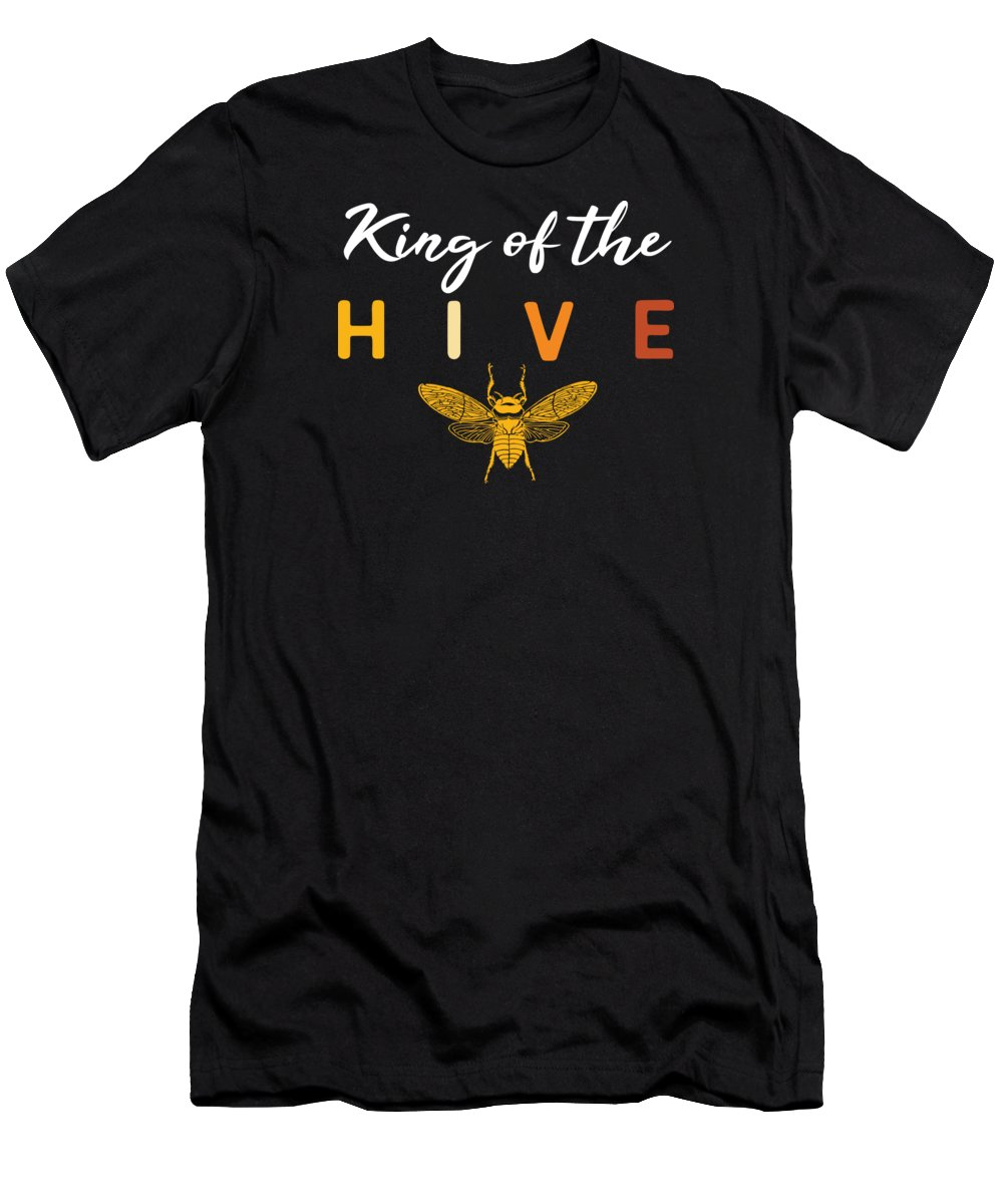 Beekeeping T-Shirt featuring the digital art Bees King Of The Hive Beekeeping Gift Idea by Haselshirt