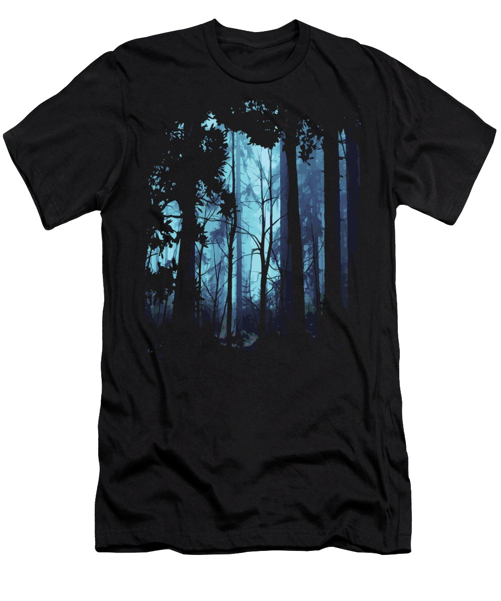Nature T-Shirt featuring the digital art Blue Nature Forest by Passion Loft