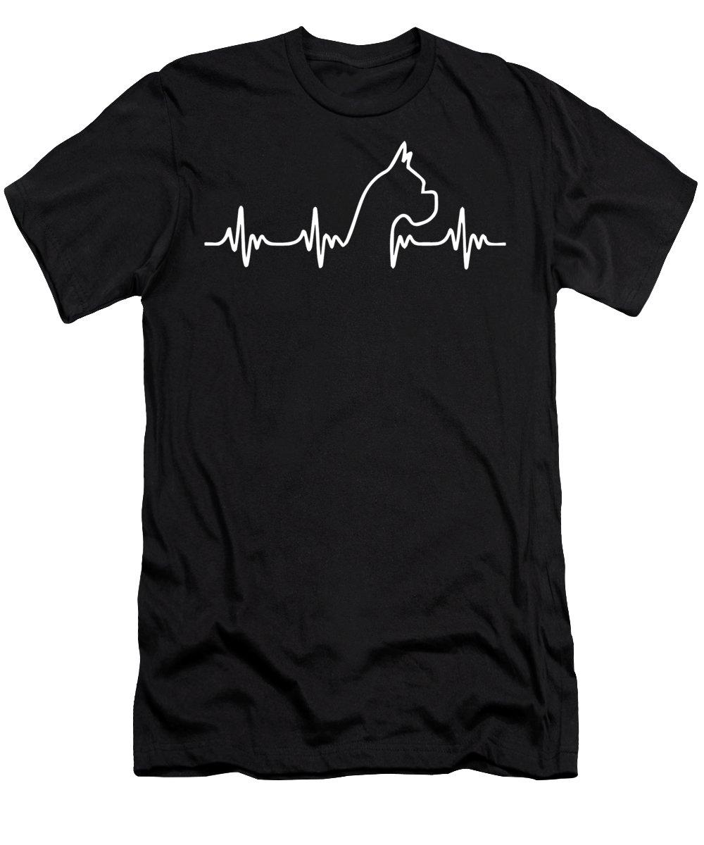 Dog Heart Beat T-Shirt featuring the digital art Boxer Dog Heart Beat by Jacob Zelazny