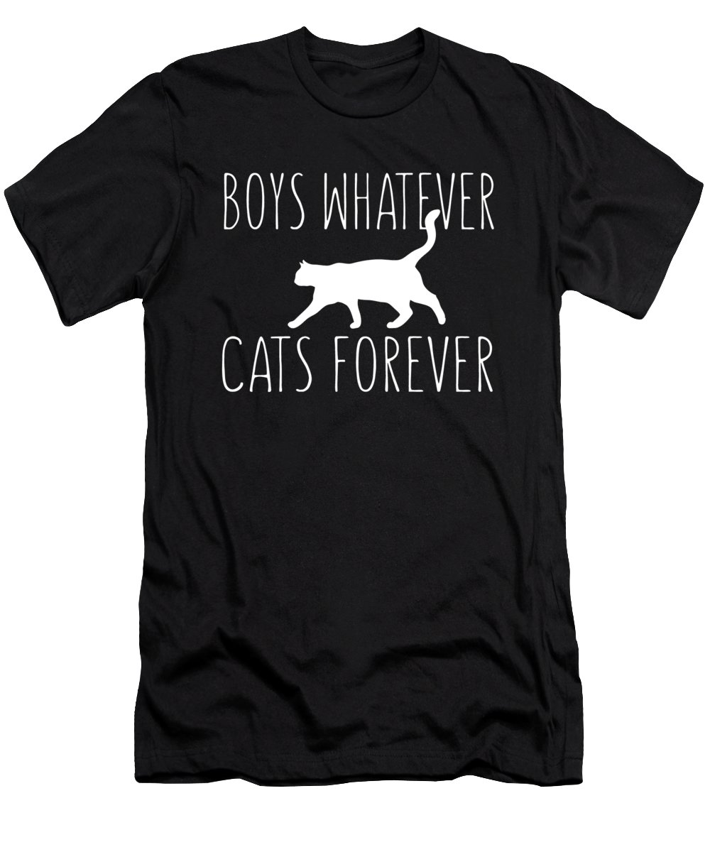 Cat Whisperer T-Shirt featuring the digital art Boys Whatever Cats Forever by Passion Loft