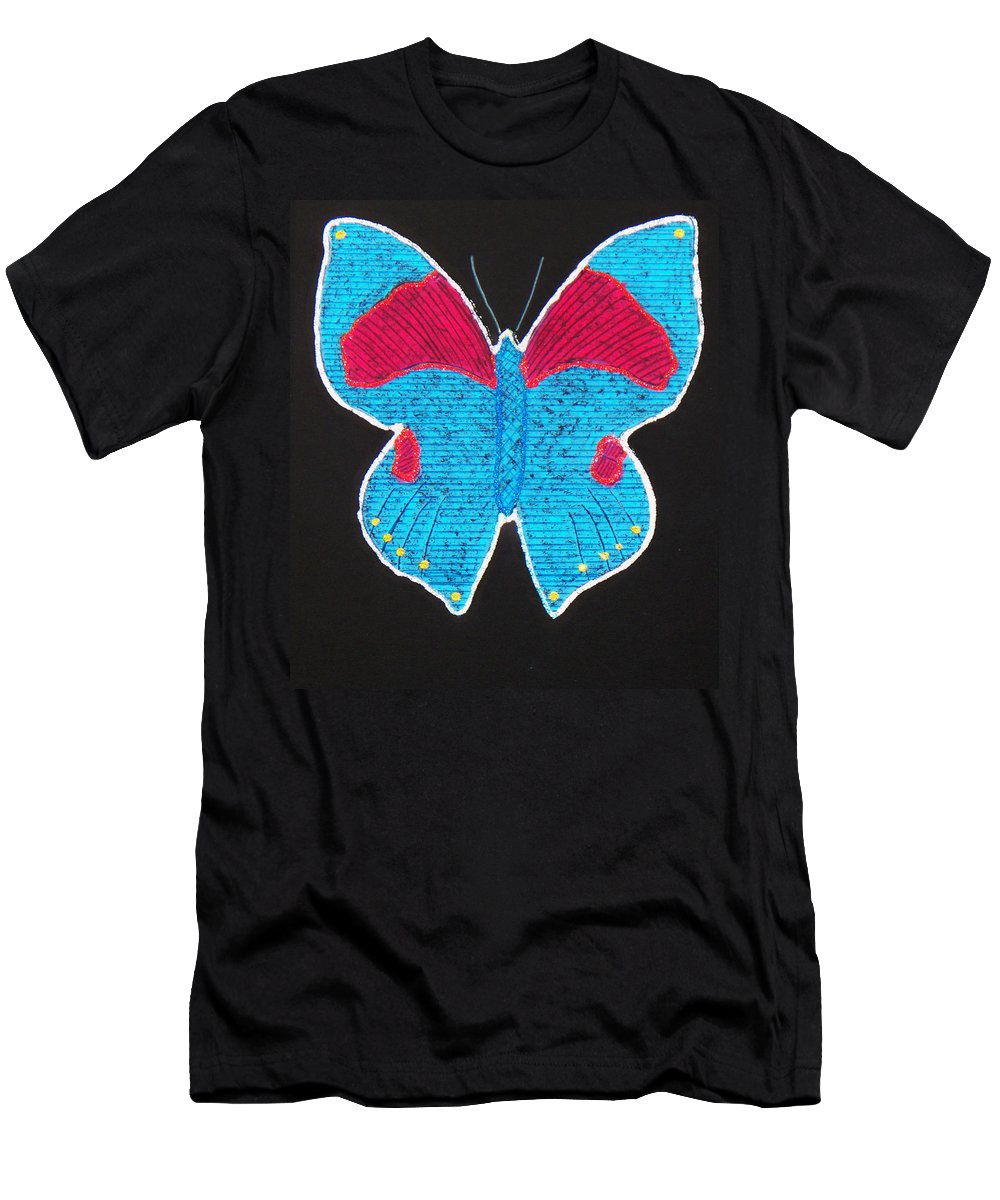 Drawing T-Shirt featuring the mixed media Butterfly by Sergey Bezhinets