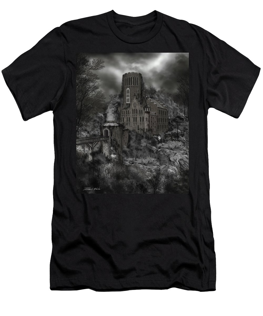 Castle T-Shirt featuring the painting Casa Los Diavla by James Christopher Hill