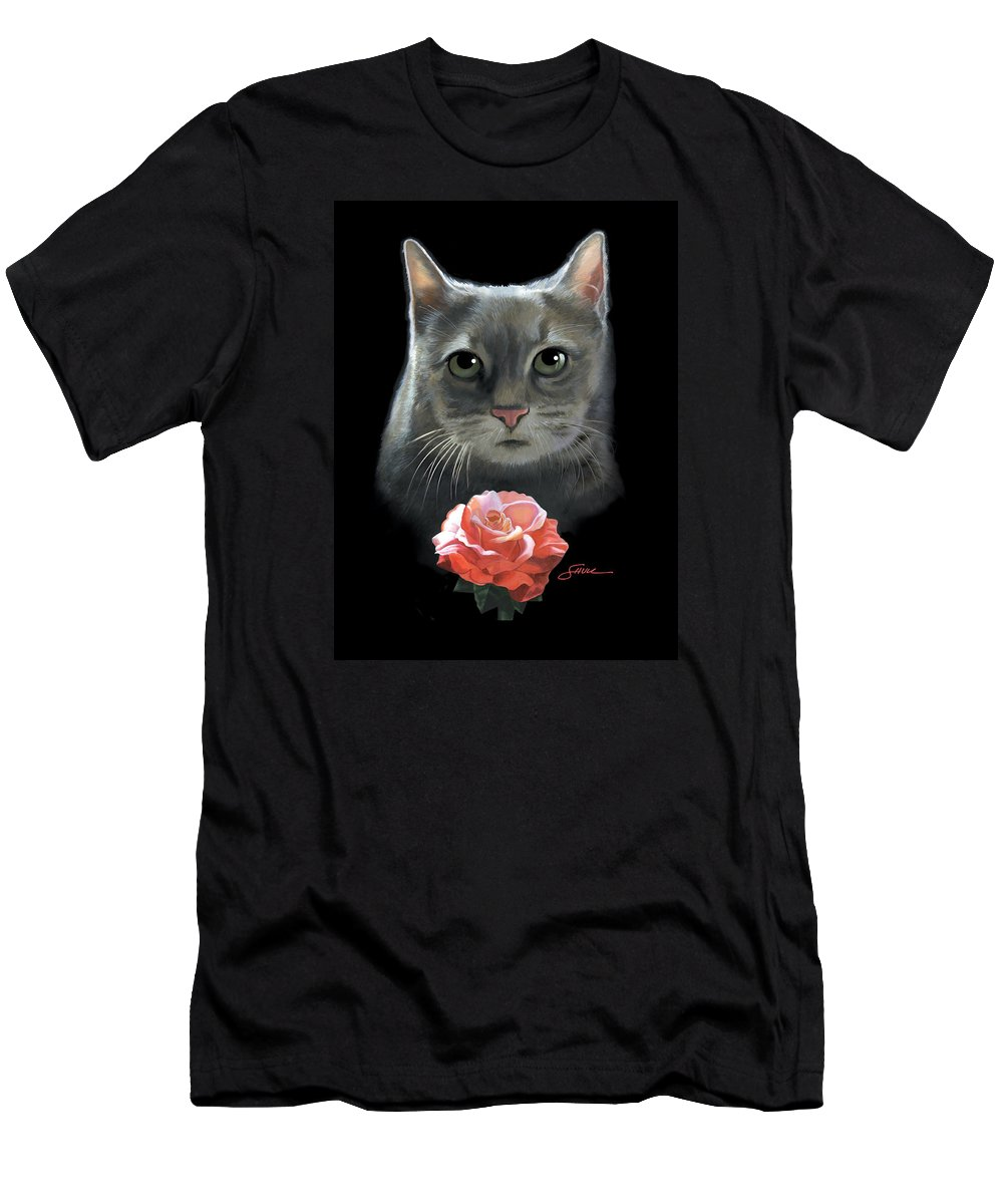 #cat T-Shirt featuring the painting Cleo And The Rose by Harold Shull