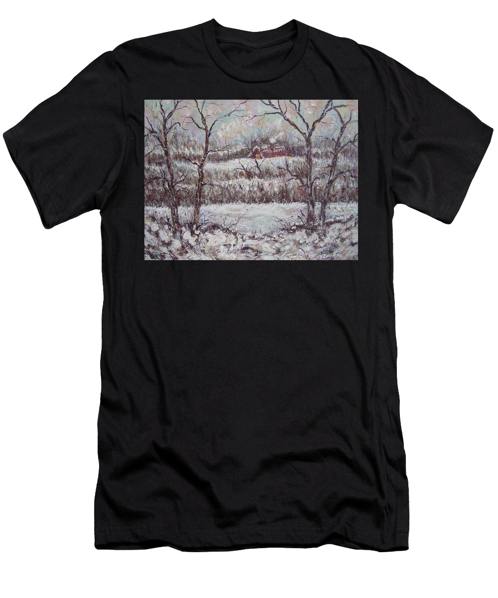 Landscape T-Shirt featuring the painting Cold Winter by Natalie Holland