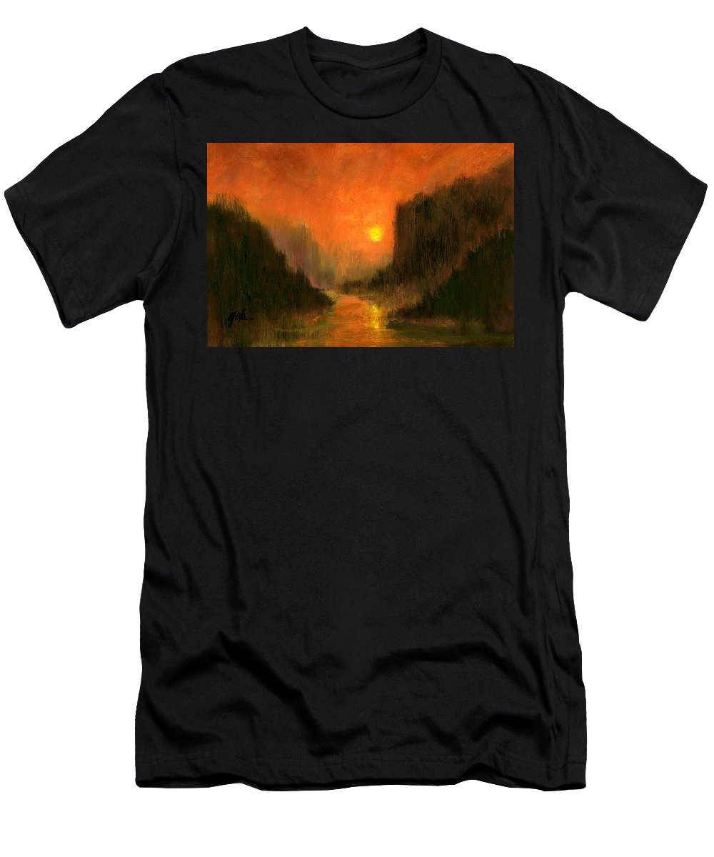 Miniatures Oil Paintings T-Shirt featuring the painting Columbia Gorge Nocturn by Jim Gola