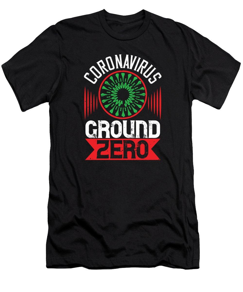 Sarcastic T-Shirt featuring the digital art Corona Virus Ground Zero by Jacob Zelazny
