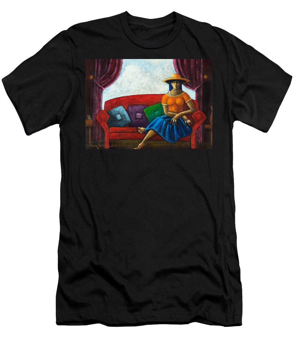 Puerto Rico T-Shirt featuring the painting El Ultimo Romance Del Verano by Oscar Ortiz