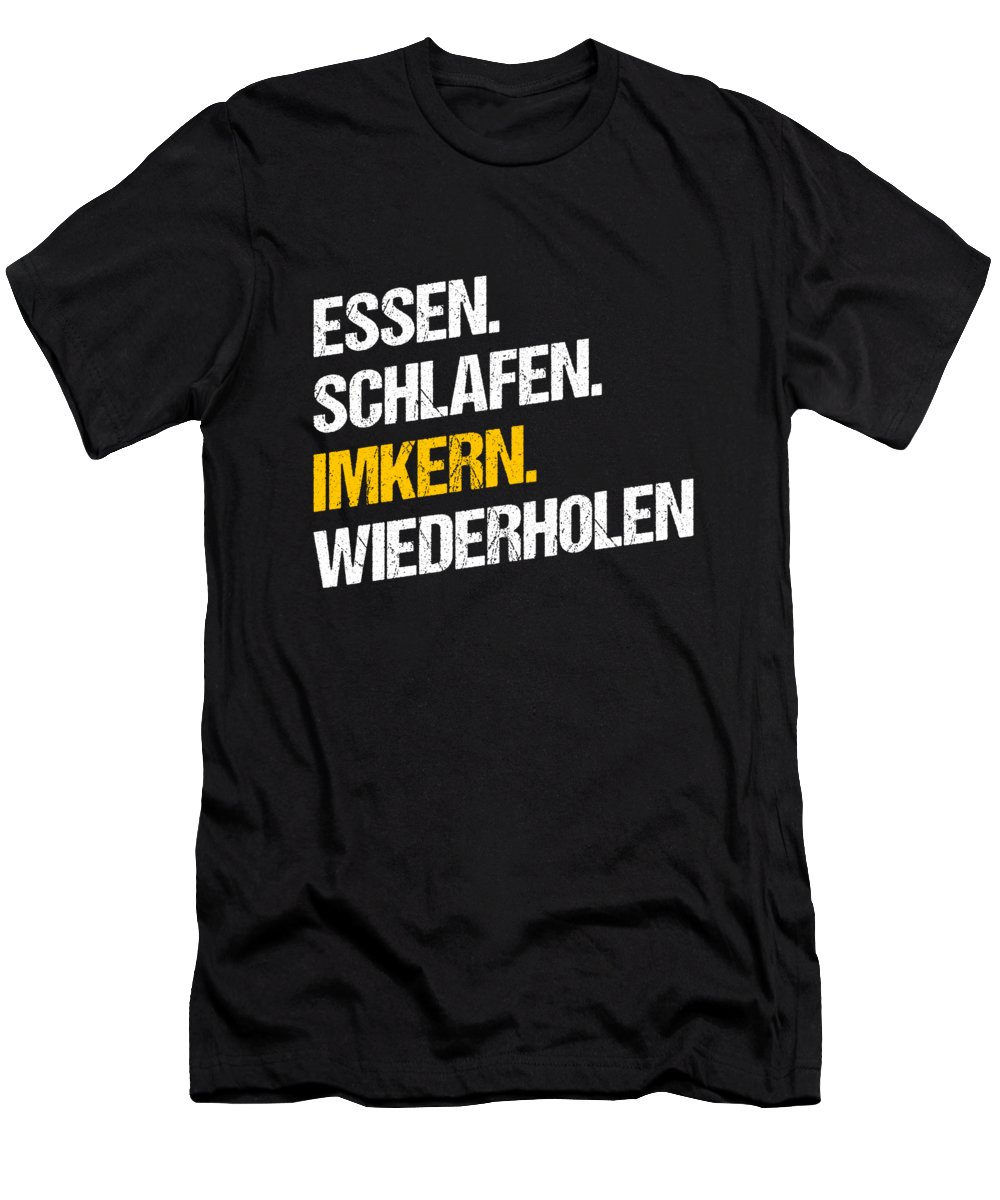 Bee T-Shirt featuring the digital art Essen Schlafen Imkern Bee Beekeeper Honeycomb Gift by Thomas Larch