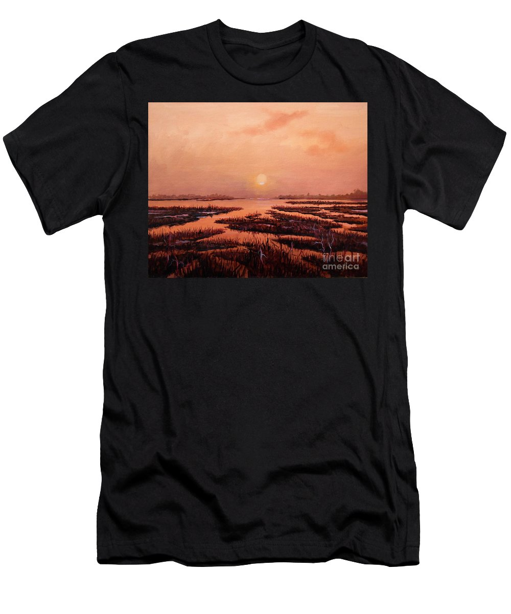 Marsh T-Shirt featuring the painting Evening Time by Sinisa Saratlic