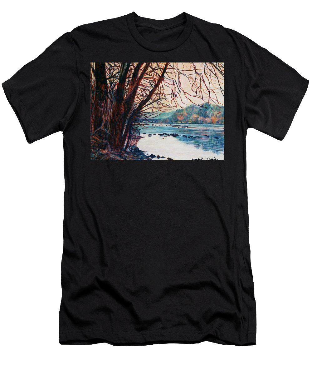 New River T-Shirt featuring the pastel Fall on the New River by Kendall Kessler