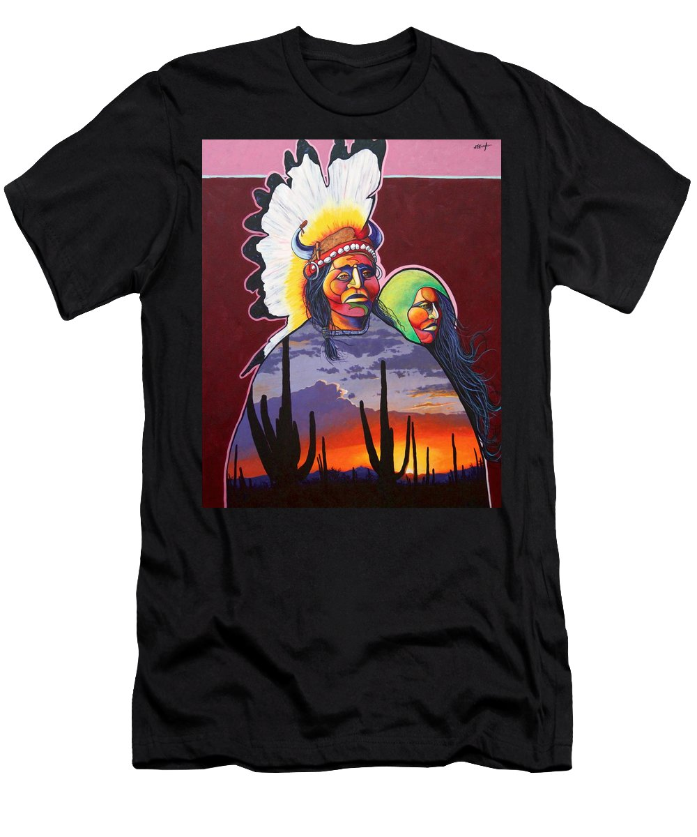 Native American Indians T-Shirt featuring the painting Finding Inner Peace by Joe Triano