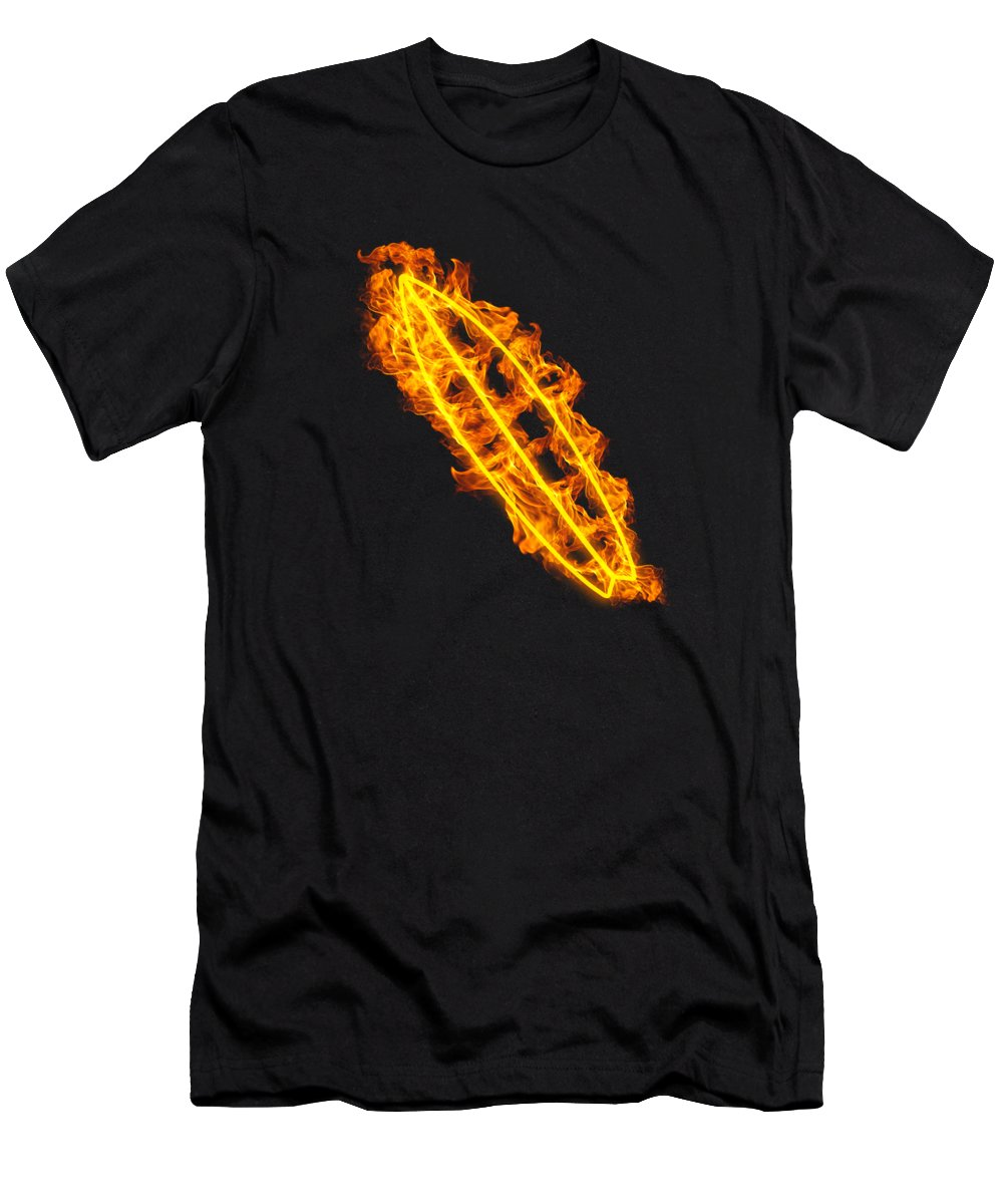 Surfing T-Shirt featuring the digital art Fire Surfing Flames Surfers Board by J M