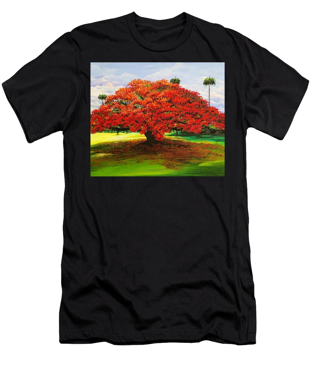 Flamboyant Tree T-Shirt featuring the painting Flamboyant Ablaze by Karin Dawn Kelshall- Best