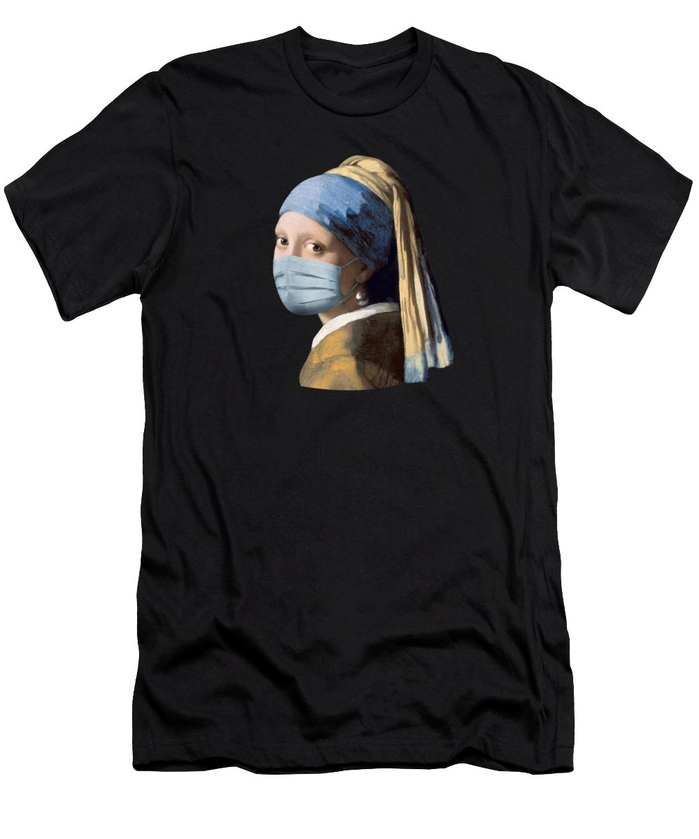 Girl T-Shirt featuring the photograph Girl with a mak and a pearl earring by Delphimages Photo Creations