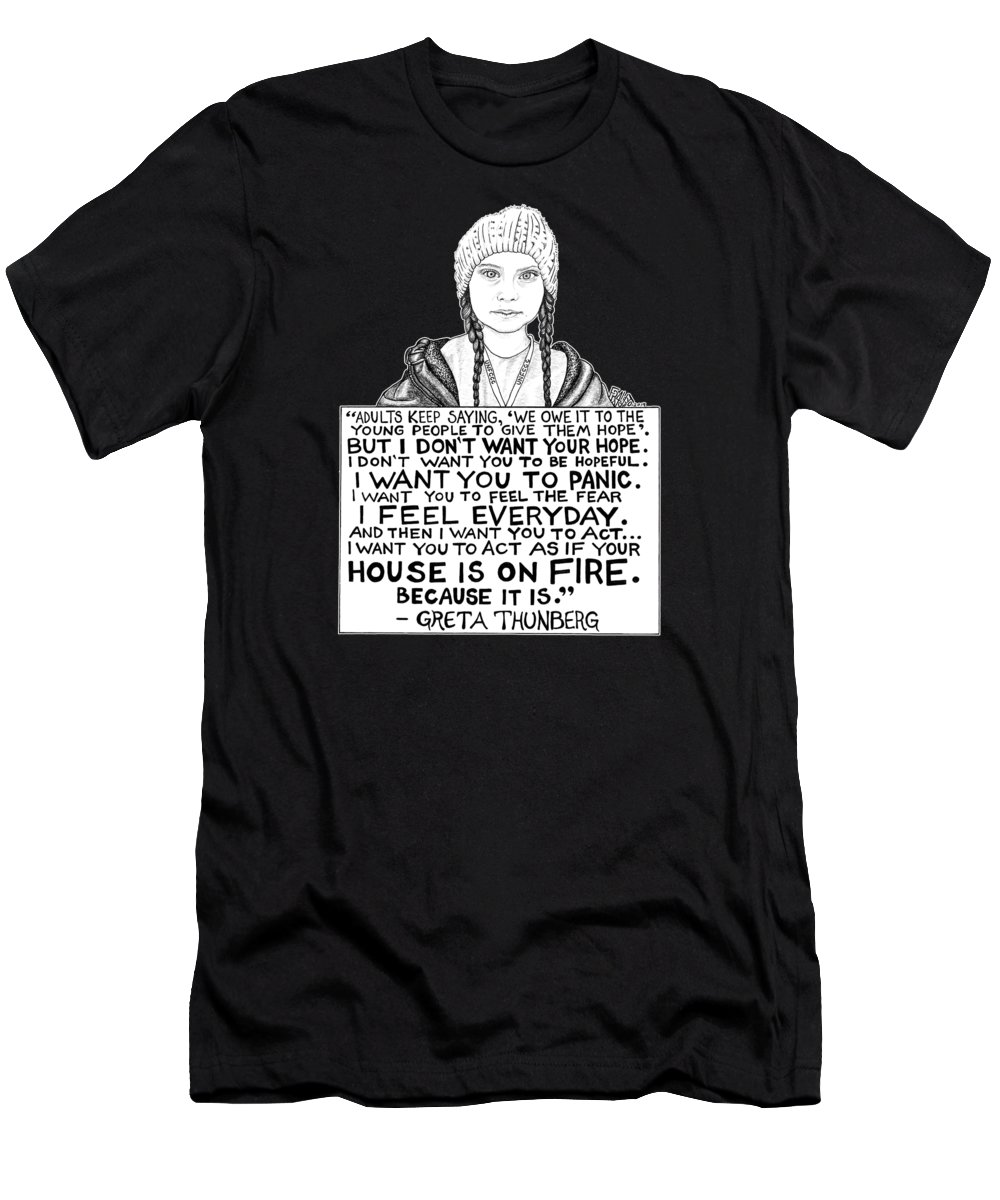 Pen And Ink T-Shirt featuring the drawing Greta Thunberg Drawing by Rick Frausto