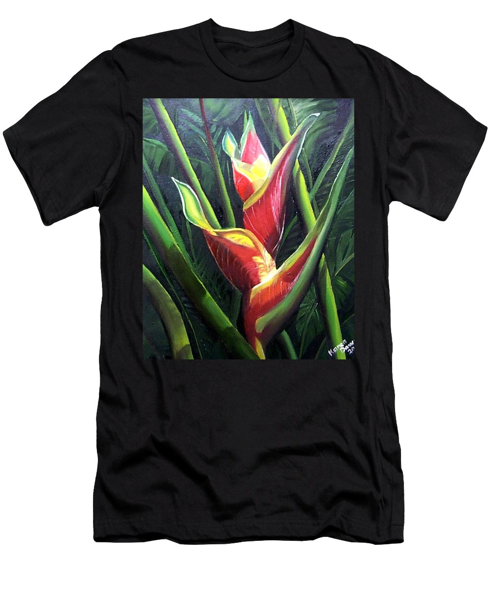 Tropical Floral Flower Heliconia Caribbean Painting Tropical Painting Botanical Painting T-Shirt featuring the painting Heliconia by Karin Dawn Kelshall- Best