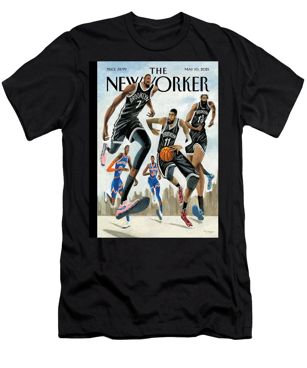Nyc T-Shirt featuring the painting Hoop Dreams in New York by Mark Ulriksen