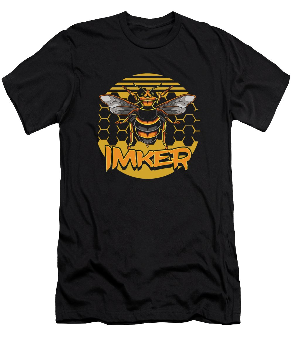Bee T-Shirt featuring the digital art Imker Bee Beekeeper Honeycomb Beehive Gift by Thomas Larch