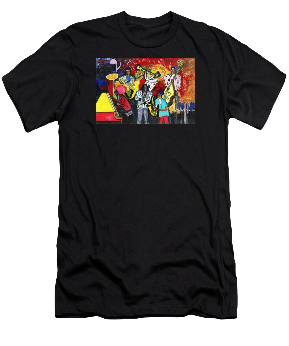 Everett Spruill T-Shirt featuring the painting Jazz Abstracts by Everett Spruill