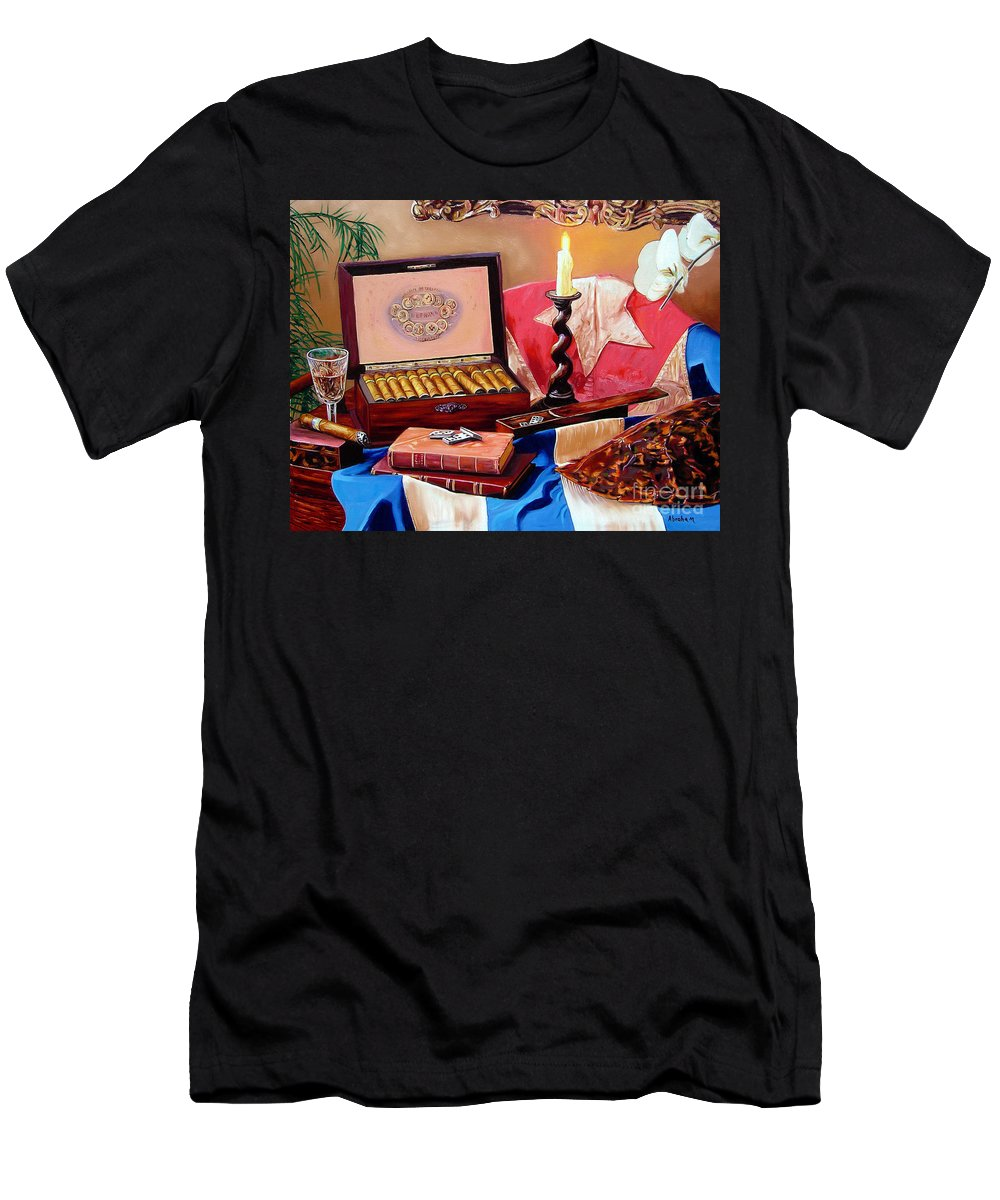 Cuban Art T-Shirt featuring the painting Legacy Of Pleasures by Jose Manuel Abraham