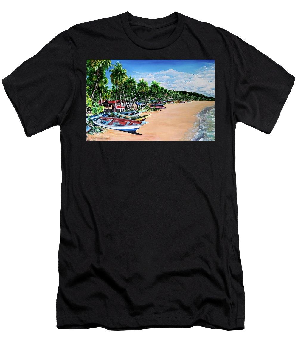 Mayaro Beach T-Shirt featuring the painting Mayaro Fishing Village by Karin Dawn Kelshall- Best