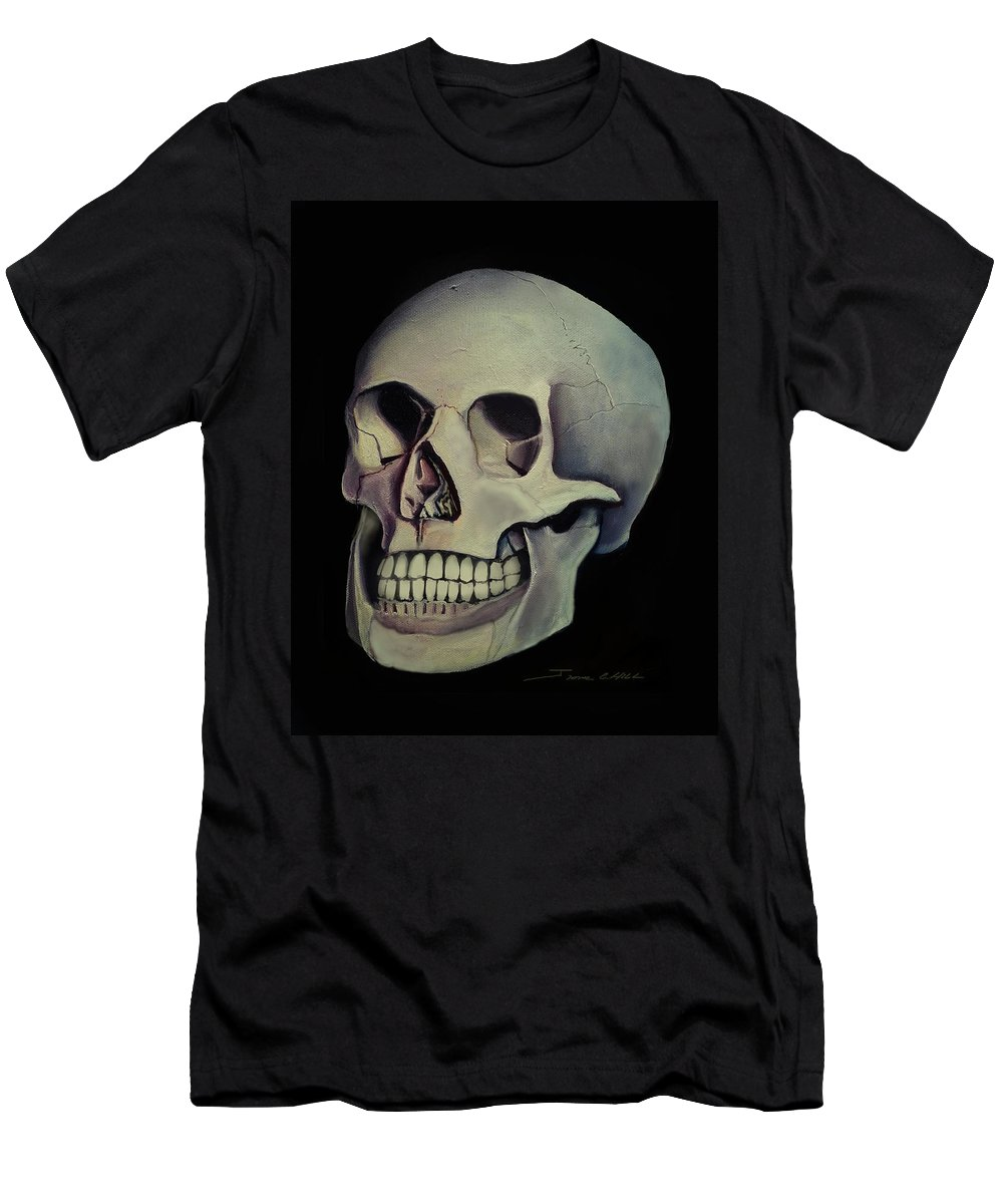 Copyright 2015 James Christopher Hill T-Shirt featuring the painting Medical Skull by James Christopher Hill