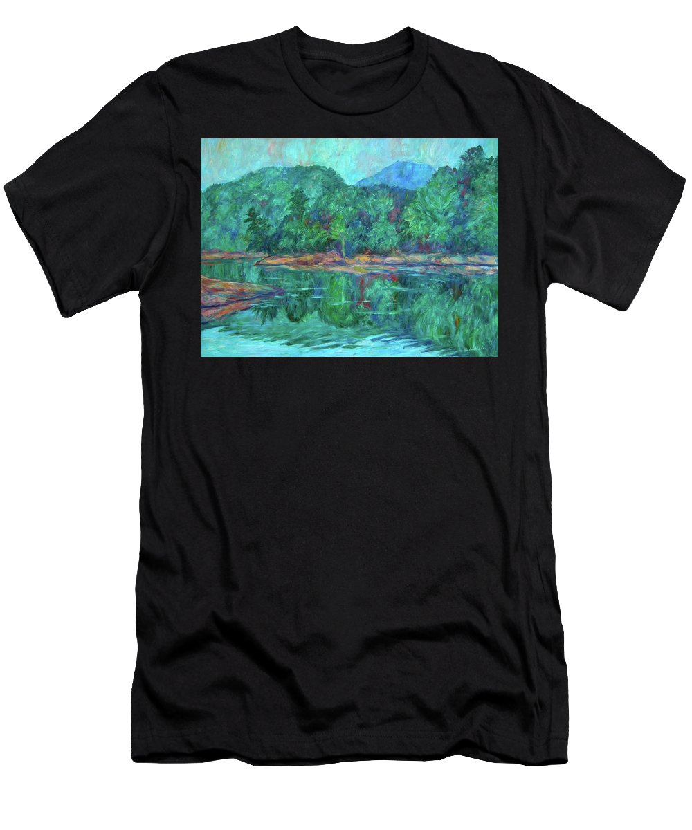 Landscape T-Shirt featuring the painting Misty Morning at Carvins Cove by Kendall Kessler