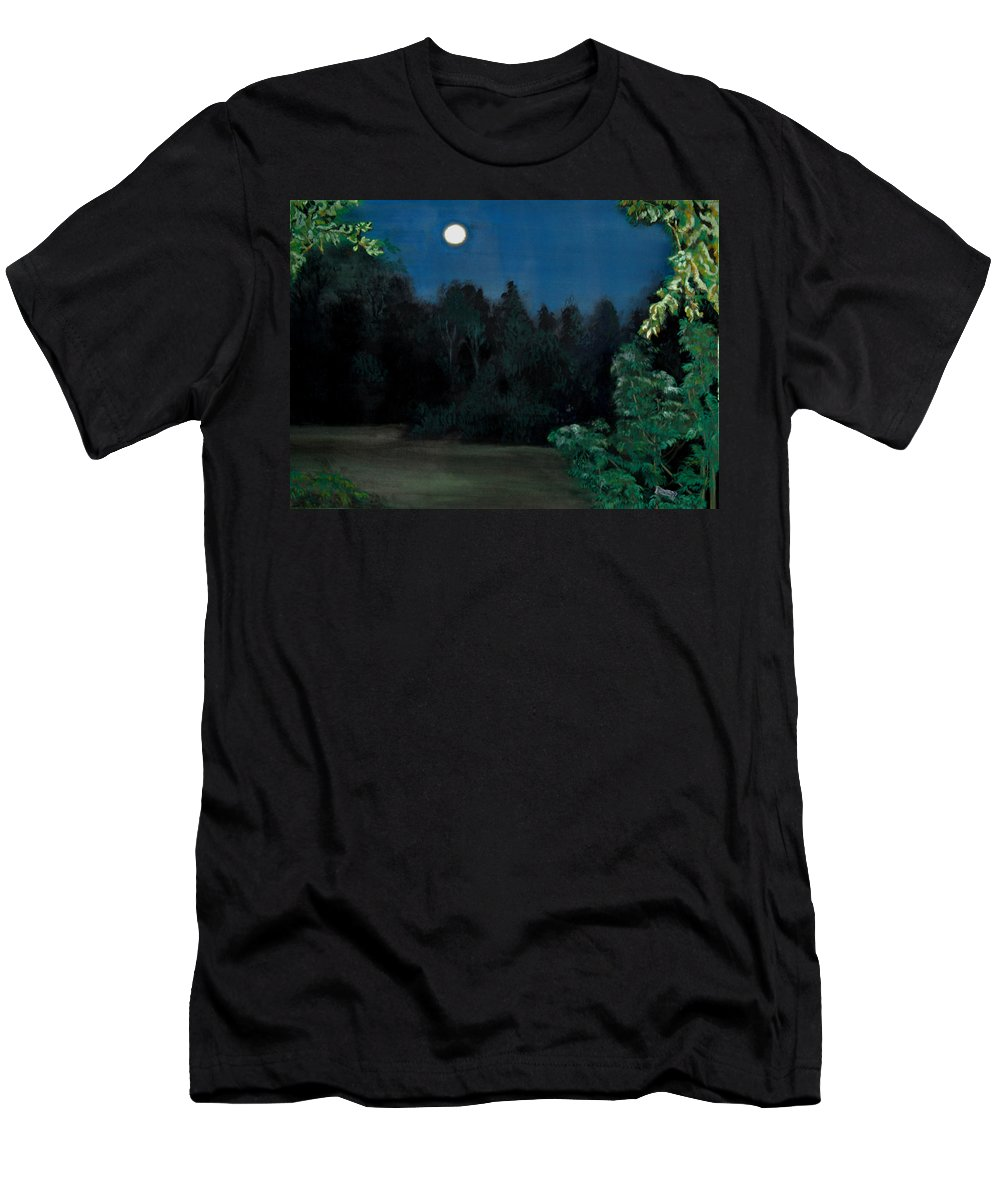 Moon T-Shirt featuring the painting Moon Shadow by Susan Moore