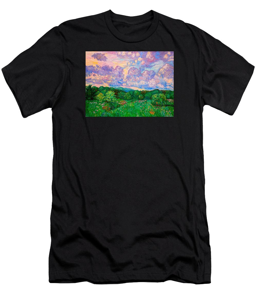 Landscape T-Shirt featuring the painting Mushroom Clouds by Kendall Kessler