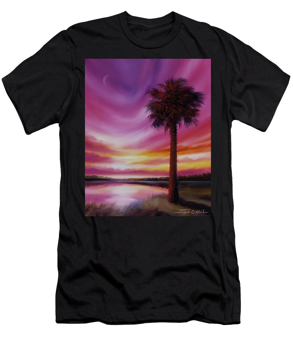 Sunrise T-Shirt featuring the painting Palmetto Moon by James Christopher Hill