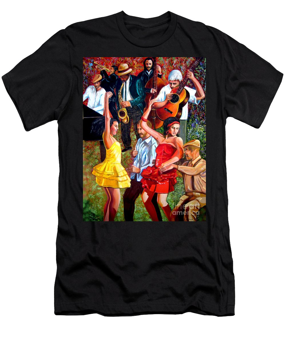 Cuban Art T-Shirt featuring the painting Party times by Jose Manuel Abraham