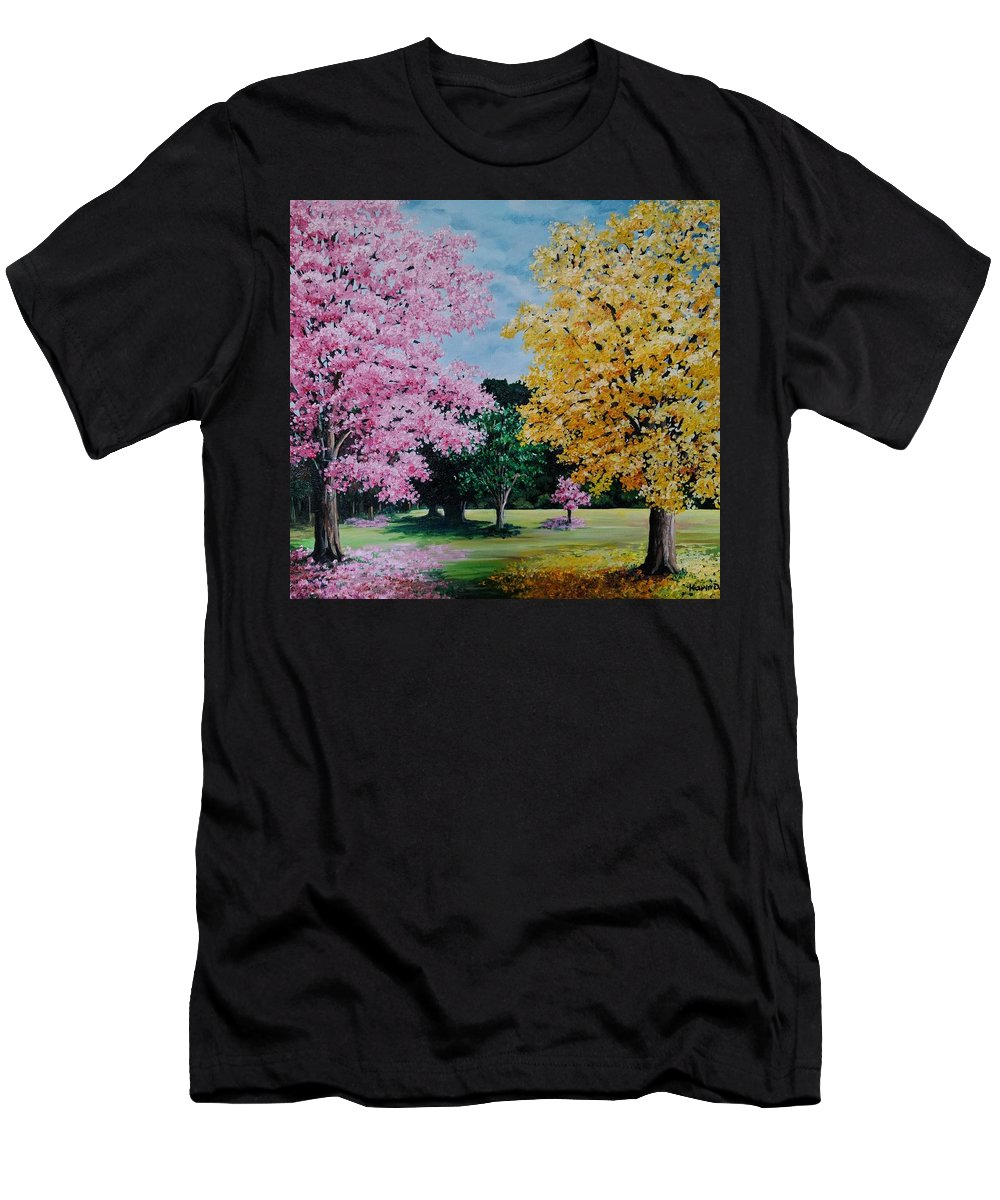 Poui Trees T-Shirt featuring the painting Pink And Yellow Puoi by Karin Dawn Kelshall- Best