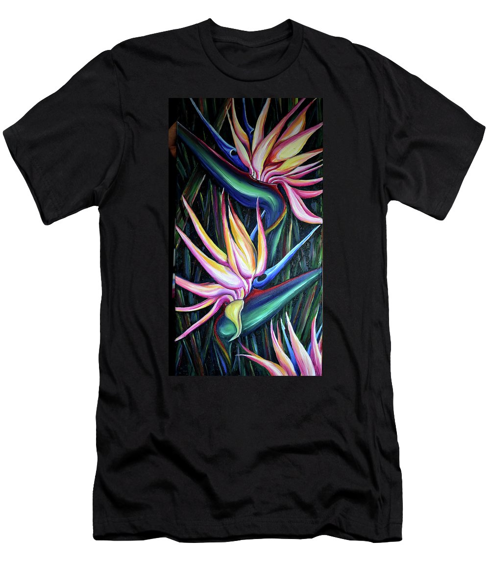 Strelitzia Reginae T-Shirt featuring the painting Pink Birds Of Paradise by Karin Dawn Kelshall- Best