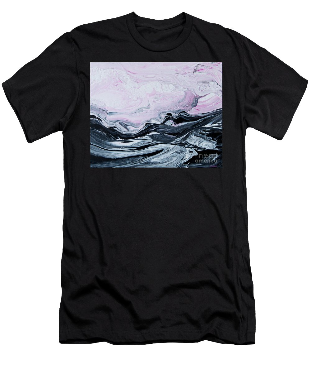 Pink-sky T-Shirt featuring the painting Pink Sky Black Sea 5508 by Priscilla Batzell Expressionist Art Studio Gallery