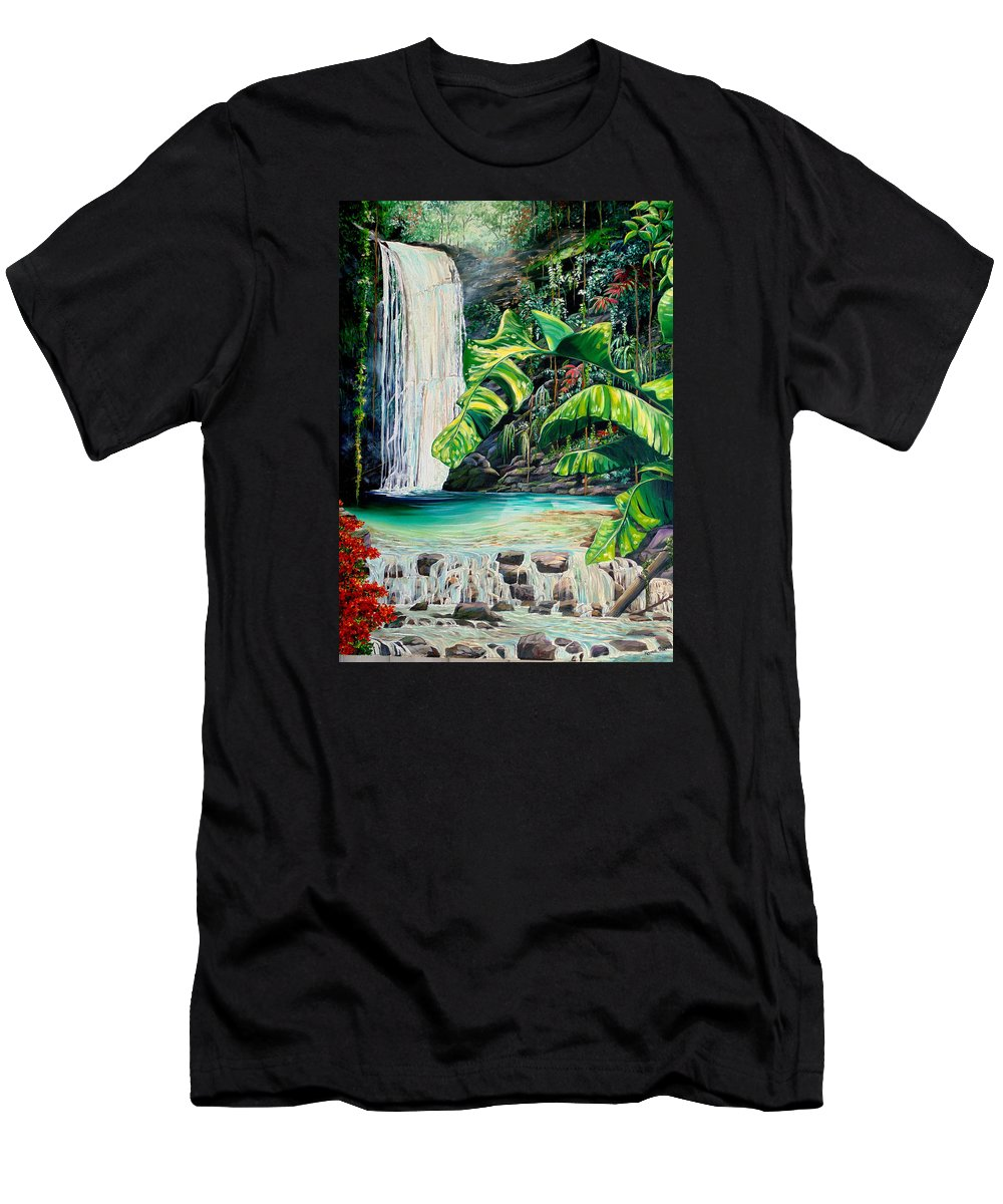Water Fall Painting Landscape Painting Rain Forest Painting River Painting Caribbean Painting Original Oil Painting Paria Northern Mountains Of Trinidad Painting Tropical Painting T-Shirt featuring the painting Rainforest Falls Trinidad.. by Karin Dawn Kelshall- Best