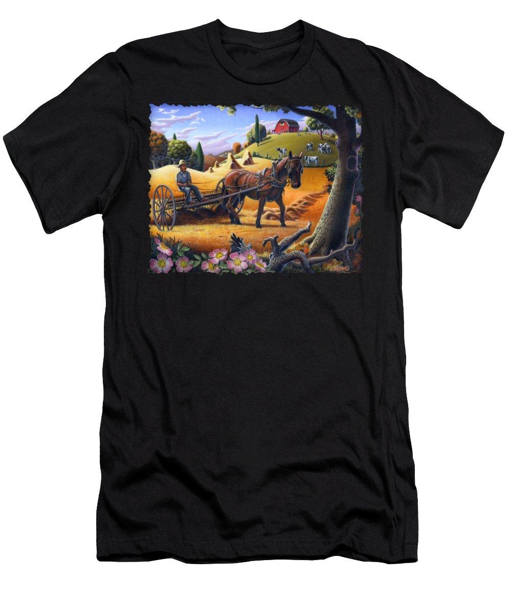 Raking Hay T-Shirt featuring the painting Raking Hay Field Rustic Country Farm Folk Art Landscape by Walt Curlee