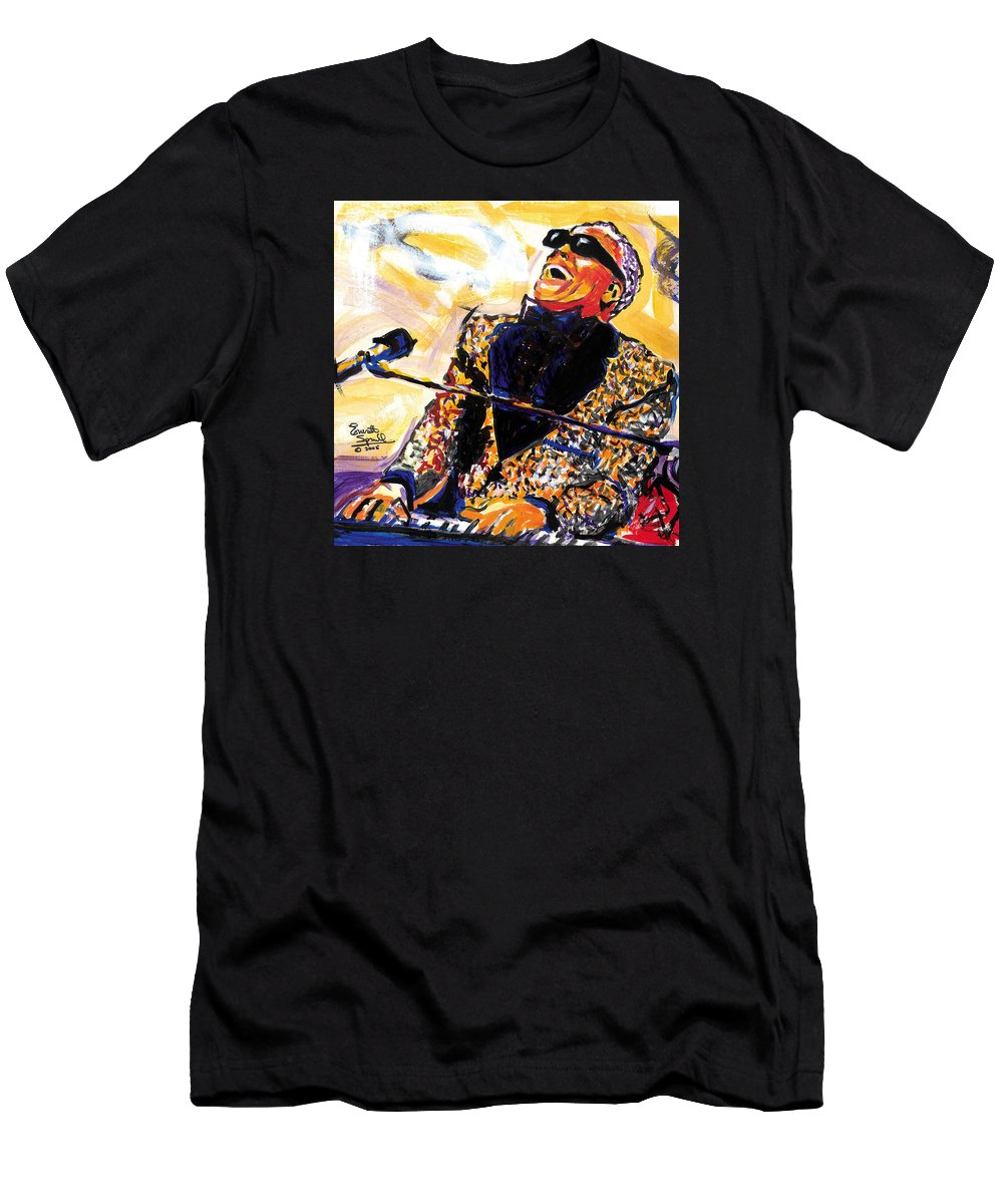 Everett Spruill T-Shirt featuring the painting Ray Charles by Everett Spruill