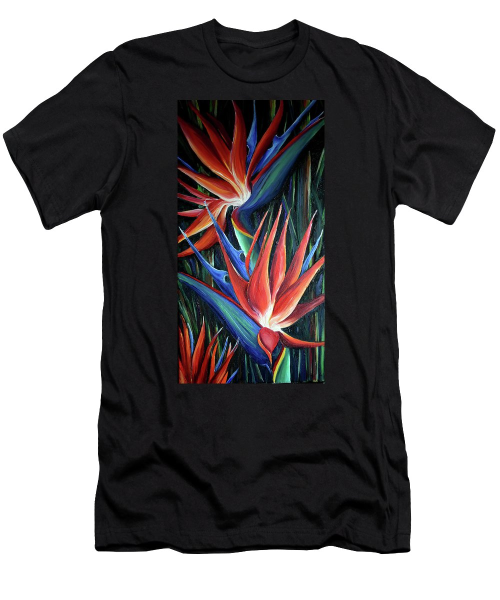 Strelitzia Reginae  Tropical Lily T-Shirt featuring the painting Red Birds Of Paradise by Karin Dawn Kelshall- Best