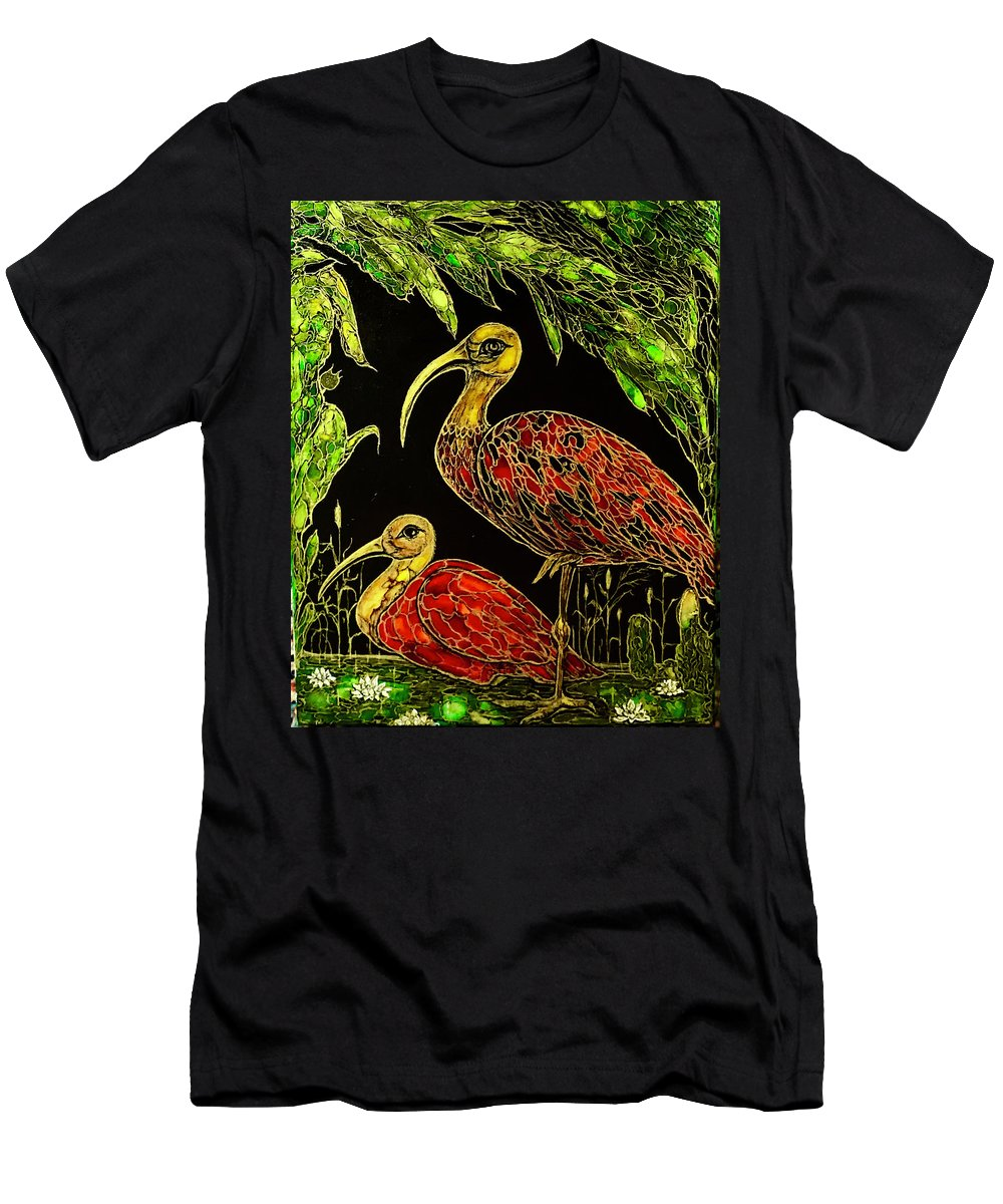 Original Artwork T-Shirt featuring the painting Red Ibises by Rae Chichilnitsky