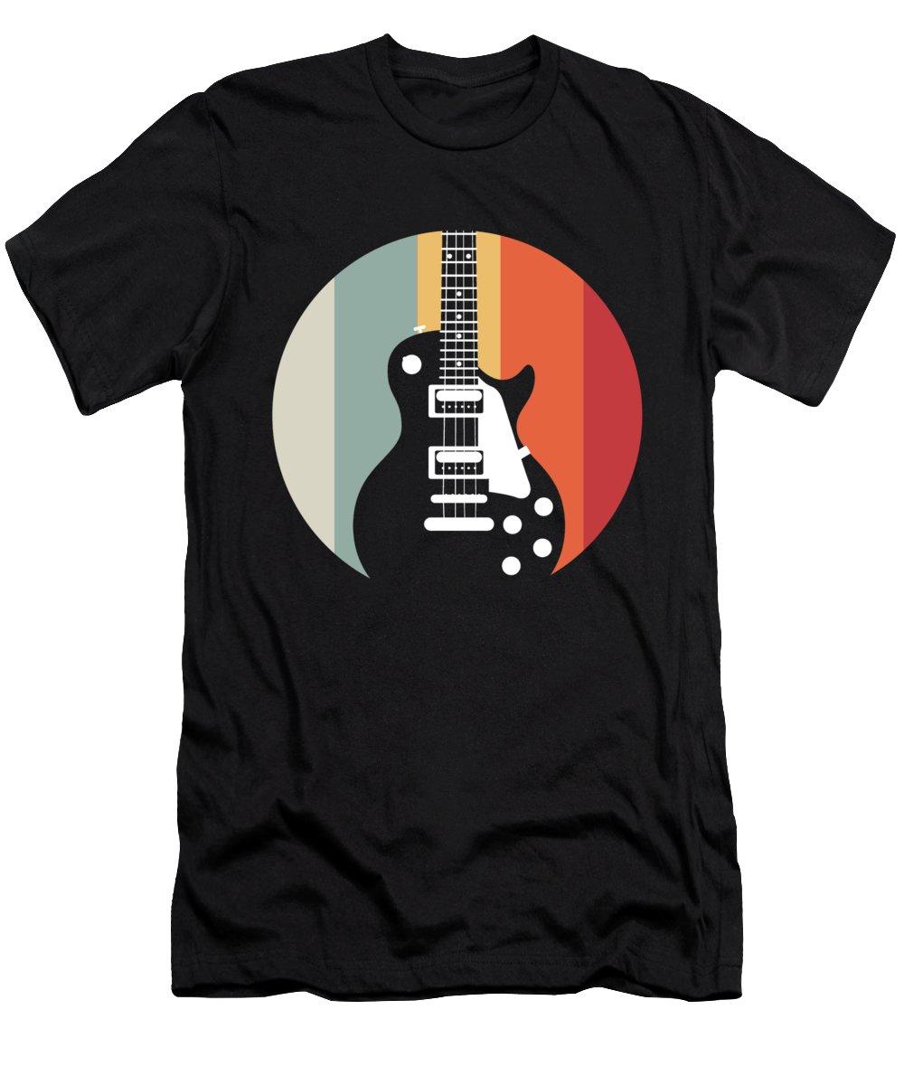 Music T-Shirt featuring the digital art Retro E Guitar Guitarist Musician Rock Gift by J M