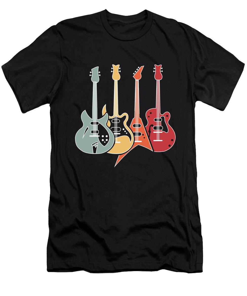 Music T-Shirt featuring the digital art Retro Guitars Bass Funny Guitarist Bassist Gift by J M