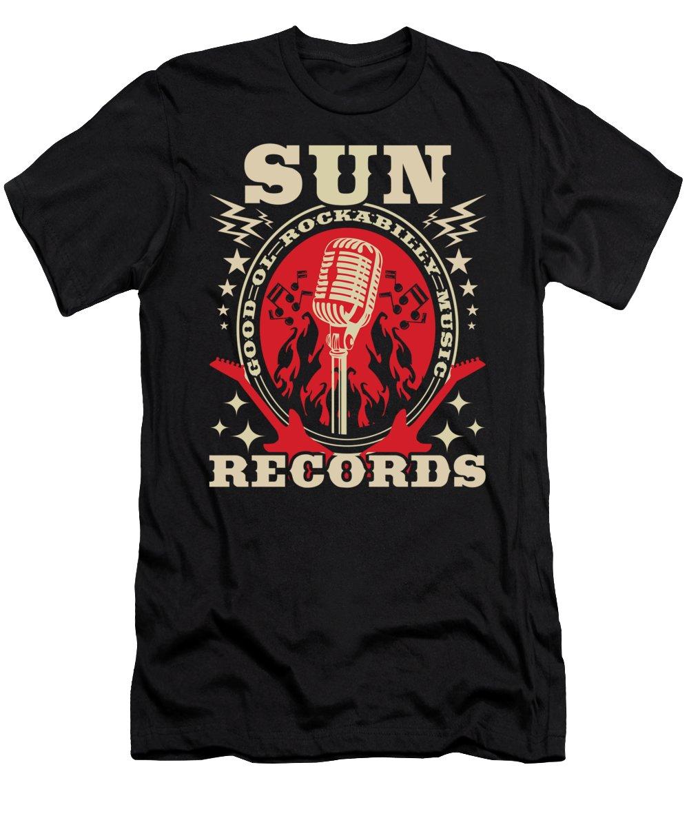 Music T-Shirt featuring the digital art Rockabilly Rocker Records Rock Music Guitar Gift by J M