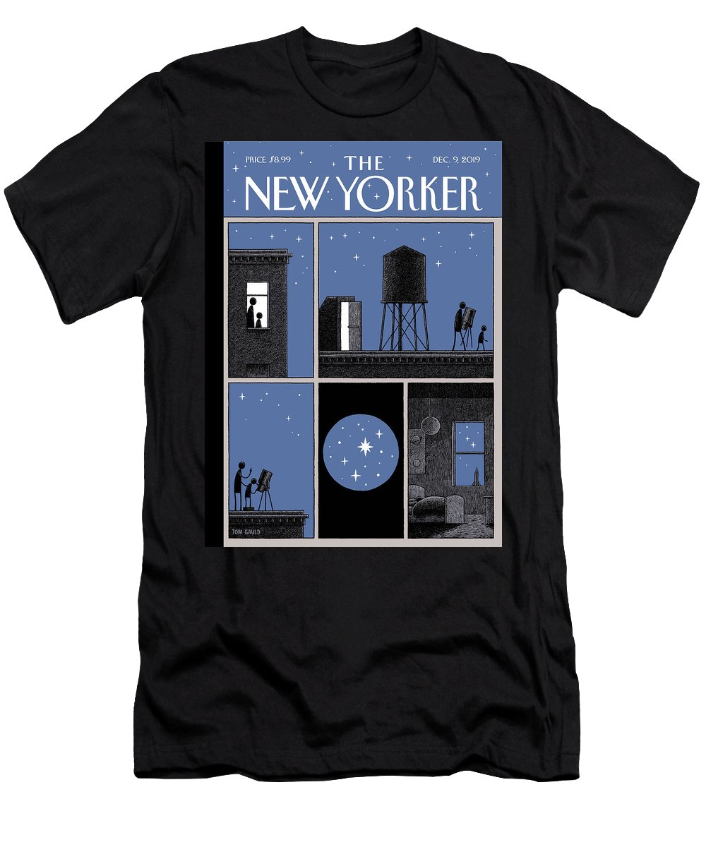 Rooftop Astronomy T-Shirt featuring the drawing Rooftop Astronomy by Tom Gauld