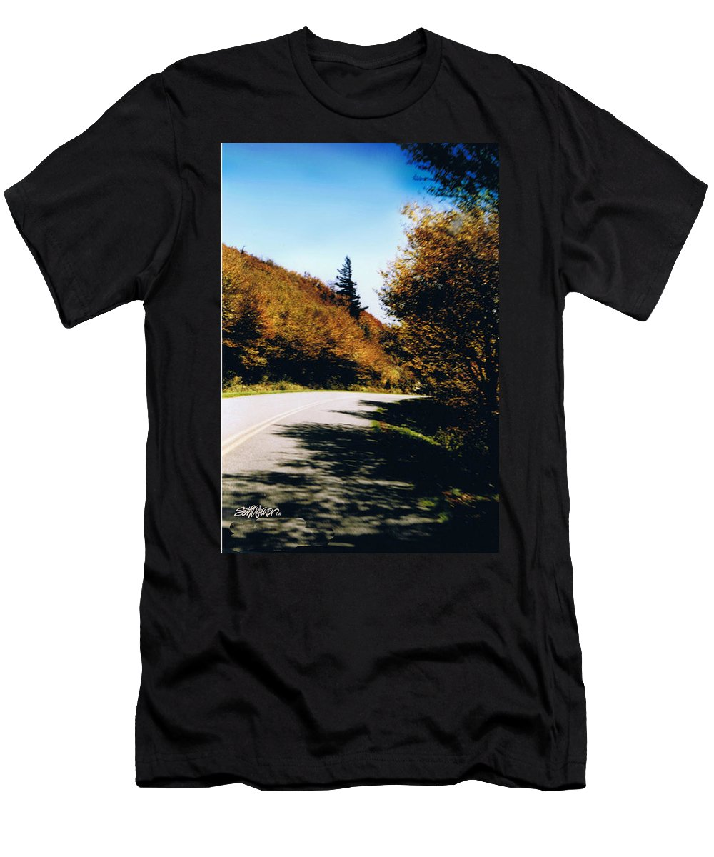 High In The Great Smoky Mtn. As You Round A Curve Stands This Noble Spruce. T-Shirt featuring the photograph Single Spruce by Seth Weaver