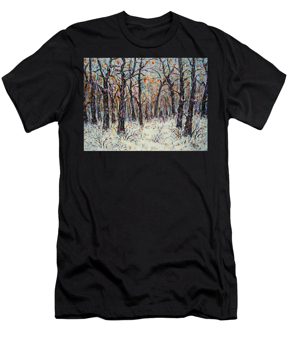 Landscape T-Shirt featuring the painting Snowing In The Forest by Natalie Holland