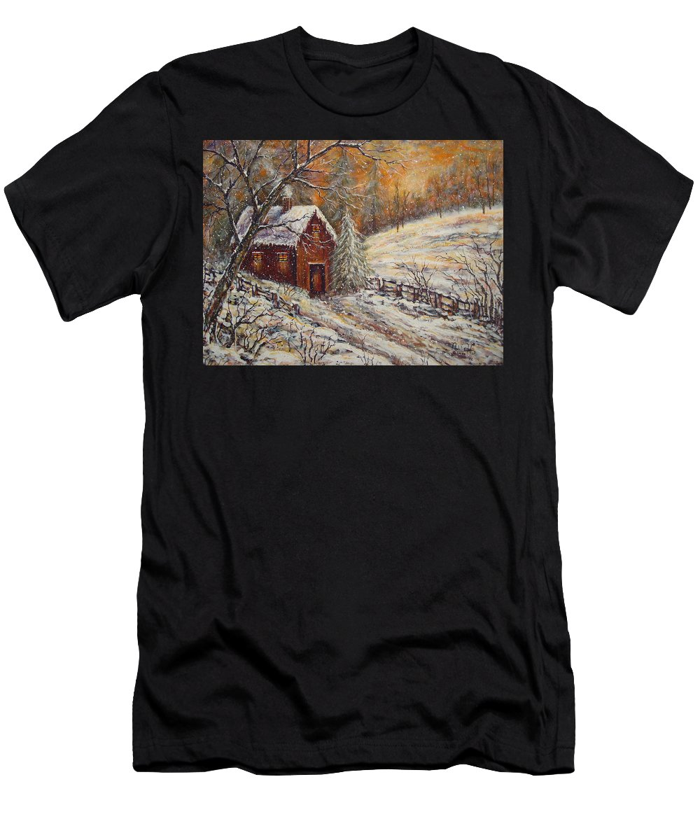 Landscape T-Shirt featuring the painting Snowy Sunset by Natalie Holland